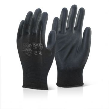 Click EC9 PU Coated Work Glove (Black - Large)